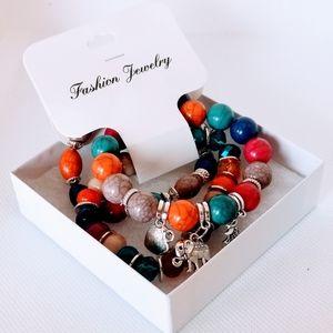 Bohemian Natural Stone Beads Bracelet 3 Pcs/Set